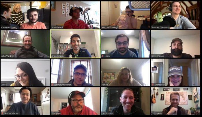 Screenshot of Avatria team members on a virtual happy hour.